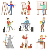 People With Artistic Professions Set Of Illustrations