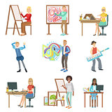 Different Artistic Professions Set Of Illustrations