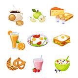 Breakfast Food Assortment Set Of Isolated Icons