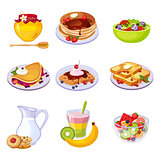 Different Breakfast Dishes Assortment Set Of Isolated Icons