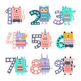 Stylized Funky Animals Standing Next To Digits Sticker Set