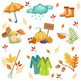 Set Of Associated With Autumn Objects