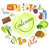 Products Rich In Calcium Infographic Illustration