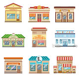 Commercial Buildings Facade Design Set Of Stickers