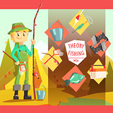 Fisherman And Thing Needed For Fishong Infographic Illustration