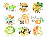Natural Citrus Juice Promo Signs Colorful Set