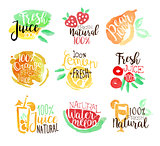 Percent Fresh Juice Promo Signs Colorful Set