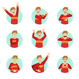 Emotion Body Language Illustration Set With Guy Demonstrating