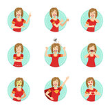 Emotion Body Language Illustration Set With Woman Demonstrating
