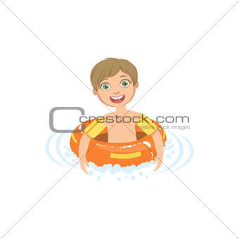 Boy In Water With Round Float