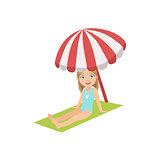 Girl On The Beach Sitting Under Umbrella