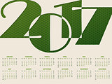 Simple 2017 typography calendar
