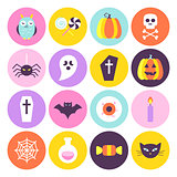 Halloween Trendy Circle Icons Set