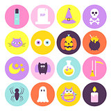 Trendy Halloween Circle Icons Set