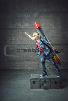 Boy with a rocket