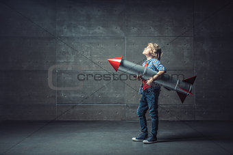 Boy with rocket