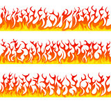 Seamless fire flames line vector set