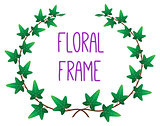 vector floral round frame