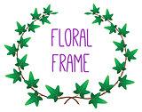 vector floral round frame
