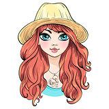 Vector beautiful fashion girl in hat