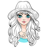 Vector beautiful fashion girl in hat