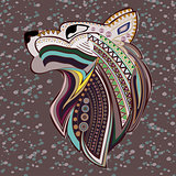 Vintage wolf head ethnic color pattern hand draw.