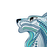 Vintage wolf head ethnic color pattern hand draw place labels.
