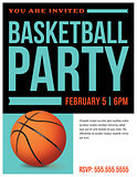 Basketball Party Flyer Invitation Illustration
