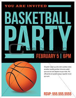 Basketball Party Flyer Invitation Illustration