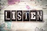Listen Concept Metal Letterpress Type