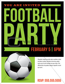 Football Soccer Party Flyer Invitation Illustration