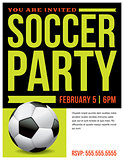 Soccer Party Flyer Invitation Illustration