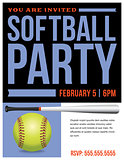 Softball Party Flyer Invitation Illustration