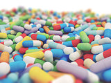 Colorful Vitamin Tablet - 3D illustration