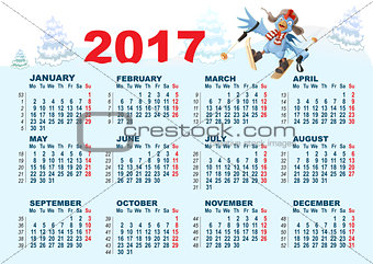 Blue Rooster symbol 2017 and calendar. Cartoon Cock chicken skiing