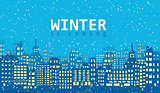 Blue winter background with buildings and snow