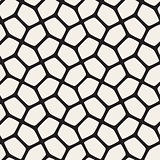 Vector Seamless Black and White Rounded Mosaic Geometric Pattern