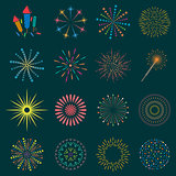 Firework icon set with petard, stars. Festival