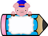 Pig with pencil personalized label sticker