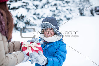 Little child with present