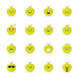 Vector green apple emoji set. Funny emoticons.