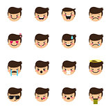 Vector boy emoticons collection. Cute kid emoji set