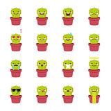 Vector cactus emoji set. Funny succulent emoticons.