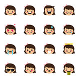 Vector girl emoticons collection. Cute kid emoji set