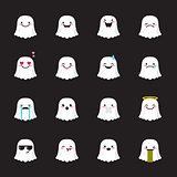 Vector ghost emoji set. Funny halloween emoticons.