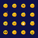 Vector moon emoji set. Funny planet emoticons.
