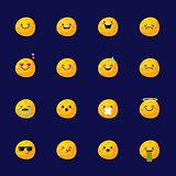Vector moon emoji set. Funny planet emoticons.