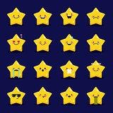Vector star emoticons collection. Cute emoji set