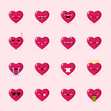 Vector heart emoticons collection. Cute emoji set