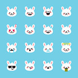 Vector rabbit emoticons collection. Cute emoji set